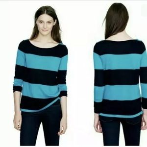 J. CREW Rugby Striped Boatneck Top Blouse Teal